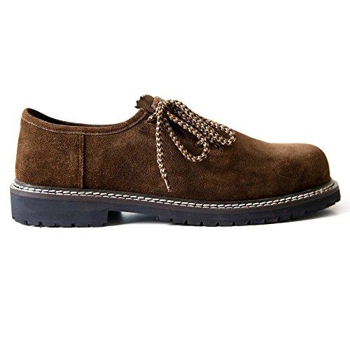 Almbock Trachtenschuhe Monaco-di-Bavaria dunkel-braun – Größe 40 41 42 43 44 45 46, eleganter Schuh für Männer, rustikale zweifarbige Schnürsenkel