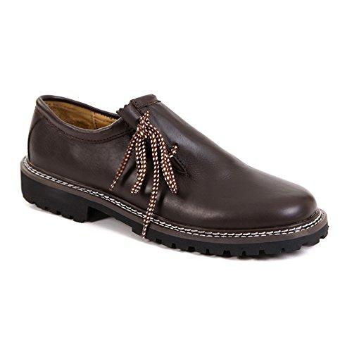 Almbock Trachtenschuhe Glatt-Leder Maron-braun – Größe 40 41 42 43 44 45 46, elegante Haferl-Schuhe für Herren, seitliche Schnürung, modern und cool