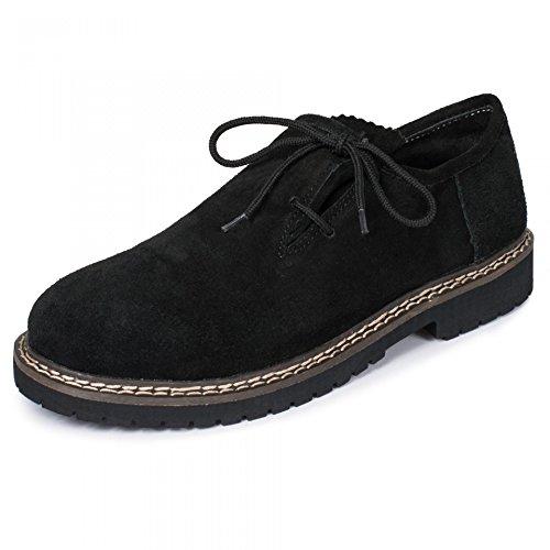 PAULGOS Trachtenschuhe Echt Leder Haferlschuhe Haferl Trachten Schuhe in 3 Farben Gr. 39-47, Farbe:Schwarz, Schuhgröße:42